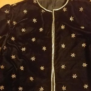 Velvet party jacket embroidered gold stars trim xl